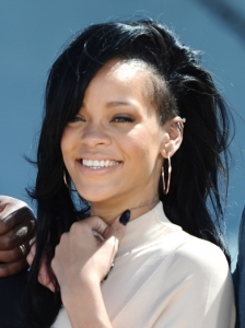 Rihanna's Side Swept Hairstyle with Undercut