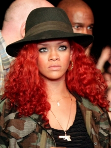 Rihanna Curly Hairstyle with Fedora