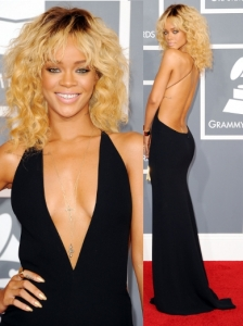 Rihanna in Giorgio Armani Backless Gown