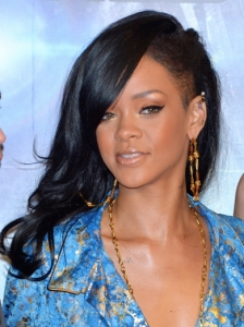 Rihanna's New Dark Hairstyle with Side Shave