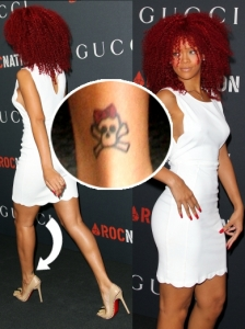 Rihanna Cute Skull Ankle Tattoo