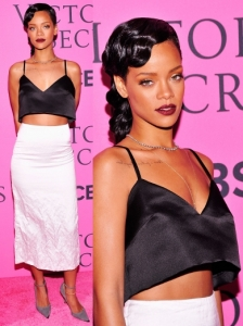 Rihanna in Miu Miu SS 2013 Crop Top and Midi Skirt