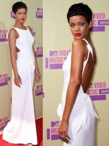 Rihanna in Adam Selman White Dress