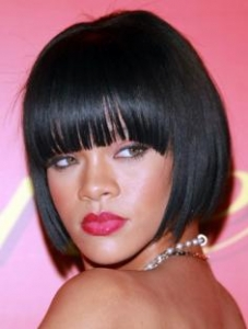 Rihanna Bob Hair with Bangs