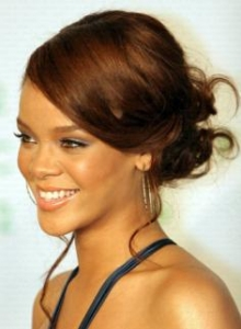 Rihanna with Stylish Updo