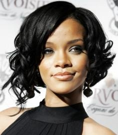 Rihanna with Curly Bob