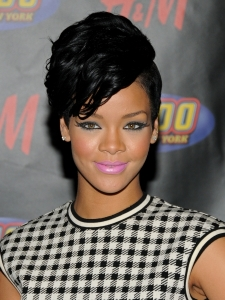Rihanna with Wavy Fohawk Hairstyle