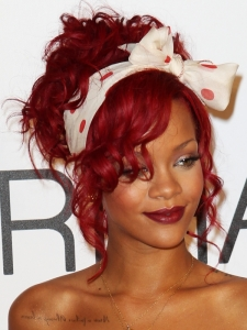 Rihanna Red Curly Updo Hairstyle