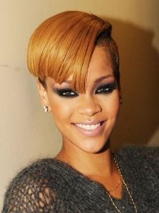 Rihanna Slick Side Swept Hairstyle