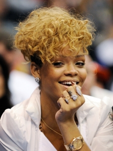 Rihanna with Tousled Curly Hairstyle