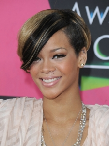 Rihanna Two Tone Hair Color