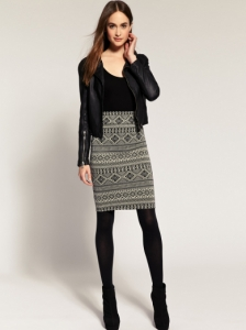 River Island Fairisle Midi Tube Skirt