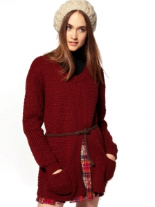 River Island Waffle Knit Belted Cardigan