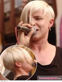 Robyn Short Haircut with Long Fringe