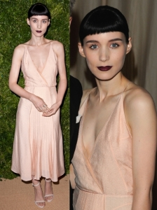 Rooney Mara in Calvin Klein Nude Satin dress