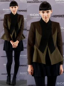 Rooney Mara in Givenchy Patchwork Jacket