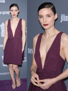 Rooney Mara in J. Mendel Eggplant Dress