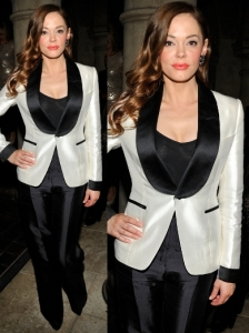 Rose McGowan in Tom Ford Tuxedo