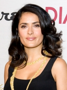 Salma Hayek Curly Shoulder Length Hairstyle
