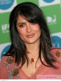 Salma Hayek Long Layered Hairstyle