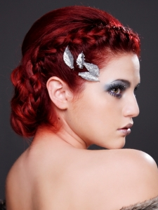 Fiery Red Braided Updo Hair Style