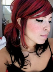 Black and Red Emo Ponytail Hairstyle