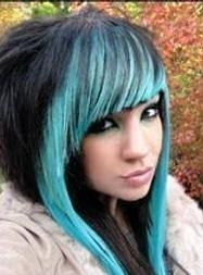 Scene Long Layered Black and Blue Hairstyle