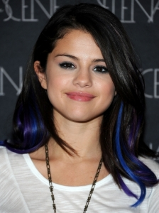 Selena Gomez with Blue and Purple Highlights