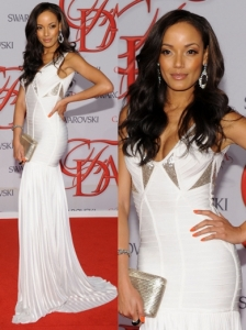 Selita Ebanks in Herve Leger by Max Azria White Gown