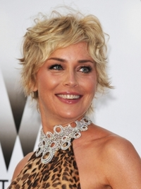 Sharon Stone's Wavy Pixie Hairstyle