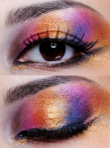 Shimmery Rainbow Eye Makeup