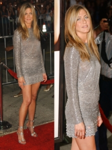 Jennifer Aniston in Valentino Silver Mini Dress