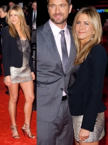 Jennifer Aniston in Valentino Metallic Dress