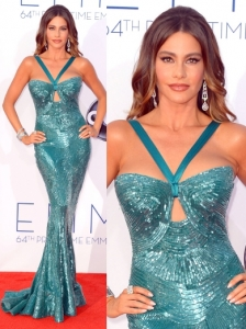 Sofia Vergara in Zuhair Murad Teal Gown