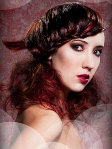 Stylish Braided Bangs Curly Hair Style
