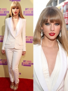 Taylor Swift in J. Mendel White Pantsuit