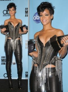 Rihanna in The Blonds Spiked Corset