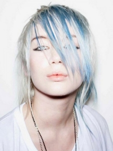 Blonde Hair and Blue Highlights