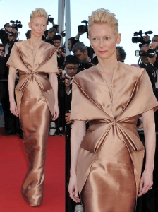 Tilda Swinton in Haider Ackerman V-Neck Dress