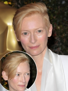 Tilda Swinton Platinum Pixie Hairstyle