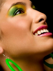 Exotic Green and Yellow Eye Makeup