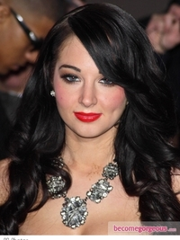 Tulisa Dark Curly Hairstyle