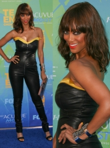 Tyra Banks in Thierry Mugler Leather Jumpsuit
