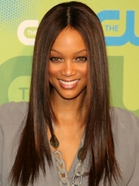 Tyra Banks Straight Brunette Hairstyle