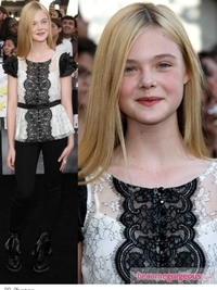 Elle Fanning in Black and White Lace Blouse