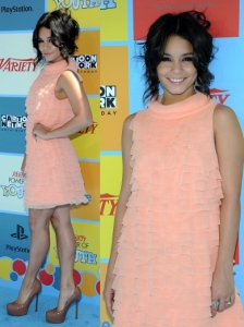 Vanessa Hudgens in Moschino Peach Ruffle Dress
