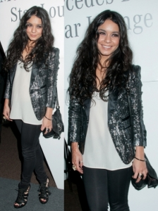 Vanessa Hudgens in Tibi Sequin Jacket