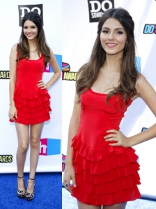 Victoria Justice in Red Jay Godfrey Dress