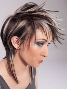 Voguish Black Hair and Blonde Highlights