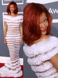 Rihanna in Jean Paul Gaultier White Ruffle Gown
